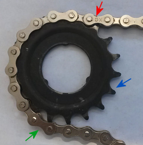 How a bicycle chain engages a sprocket with tall teeth