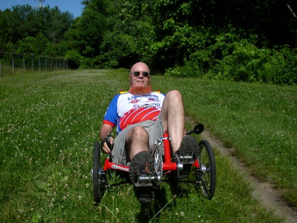 Sheldon Brown takes his Greenspeed tricycle off-road
