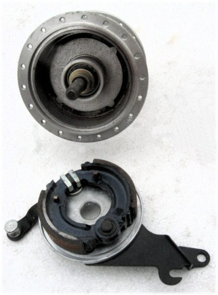 Bicycle drum brake, partially disassembled