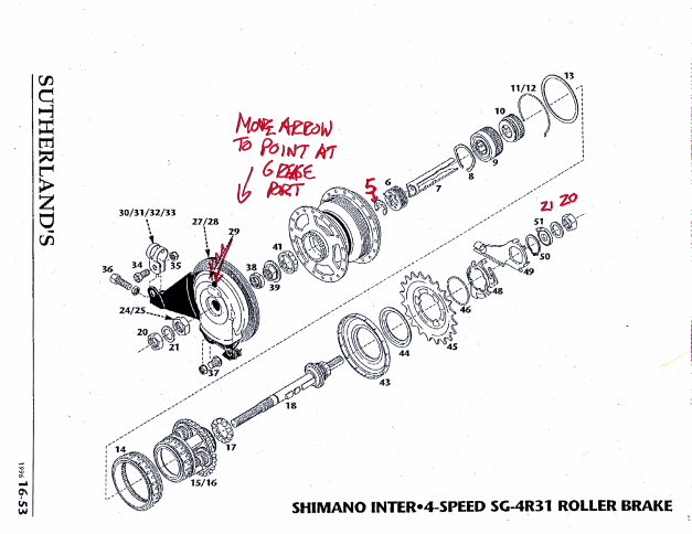 Exploded drawing of shimano 4-speed hub
