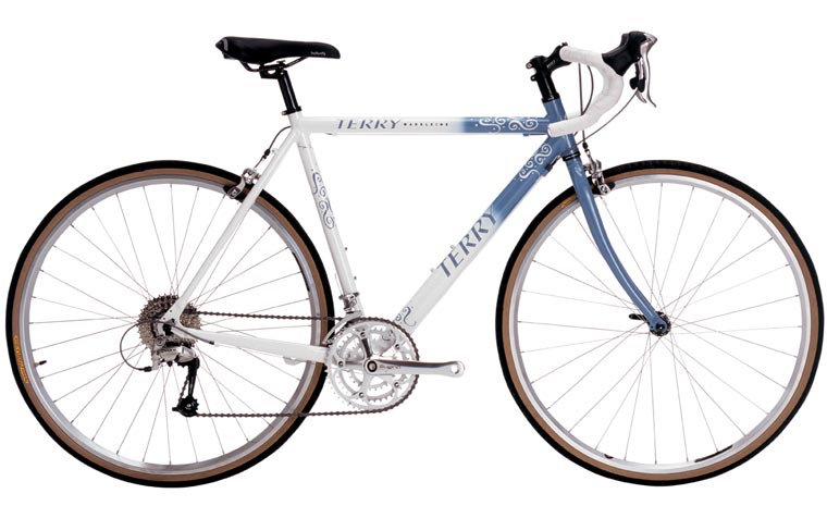 Possibly lost true love. The Terry Madeleine, a relaxed touring bike in light blue and white paint, with drop handlebars.