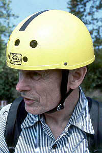 MSR helmet, 1974 (Helmet wearer is Milt Raymond, Boston-area utility cyclist and inventor.)