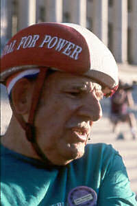 No-shell helmet (The helmet wearer is John Torosian, then President of the League of American Wheelmen.)