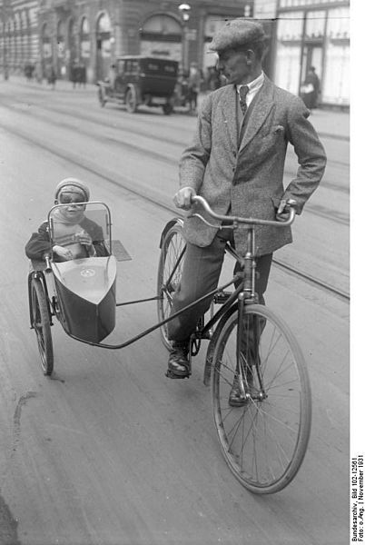 Bicycle with sidecar, Germany, 1931