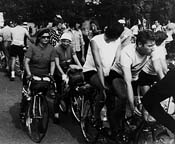 Photograph of me, one of the women I rode with, and a tandem at start of PBP