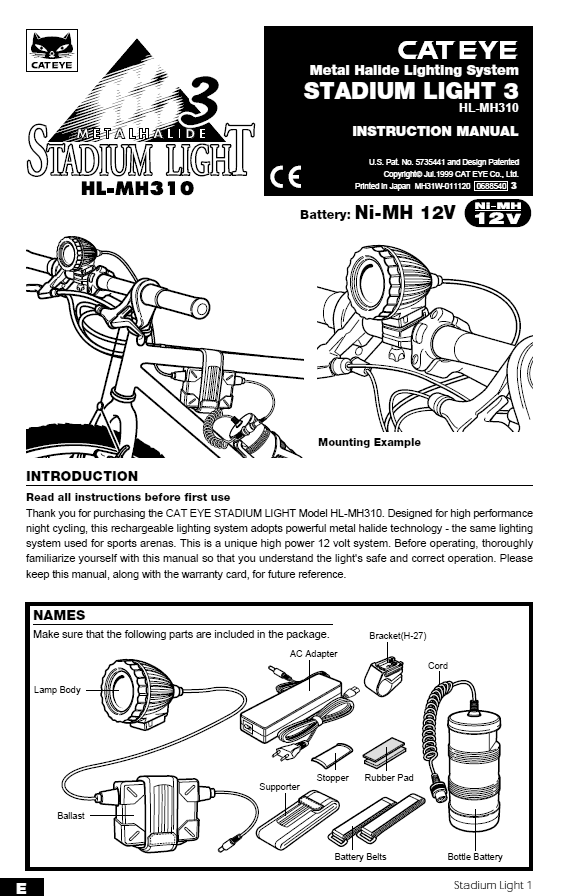 Page from Cateye Stadium manual
