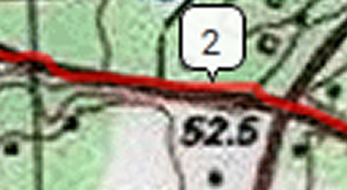 bicycle ride segment with USGS topo map background