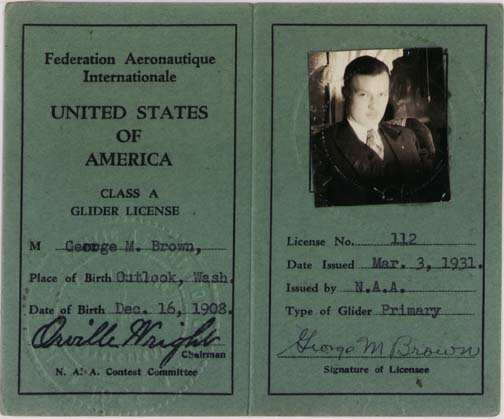 1931 Glider license, signed by Orville Wright