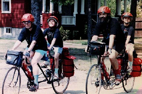 The whole family on two kid-back tandems, July 1990.