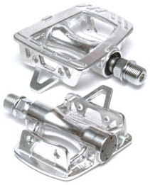 Platform pedals for use with toe clips