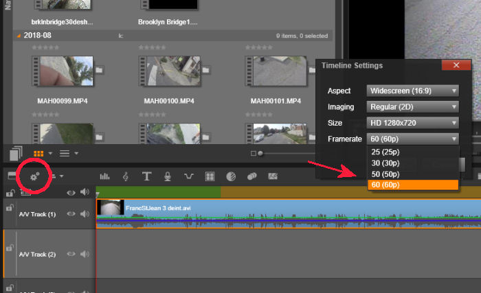 Timeline settings in Pinnacle Studio Ultimate 20