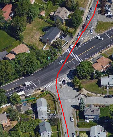 """Route created in RidewithGPS; """"draw lines"""" used to round the corner. Lane position is still inaccurate."""