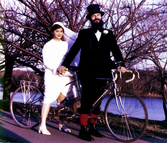 Wedding photo on tandem bike