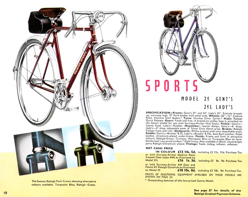 retro raleighs 1951 raleigh catalogue page 10 sports. Black Bedroom Furniture Sets. Home Design Ideas