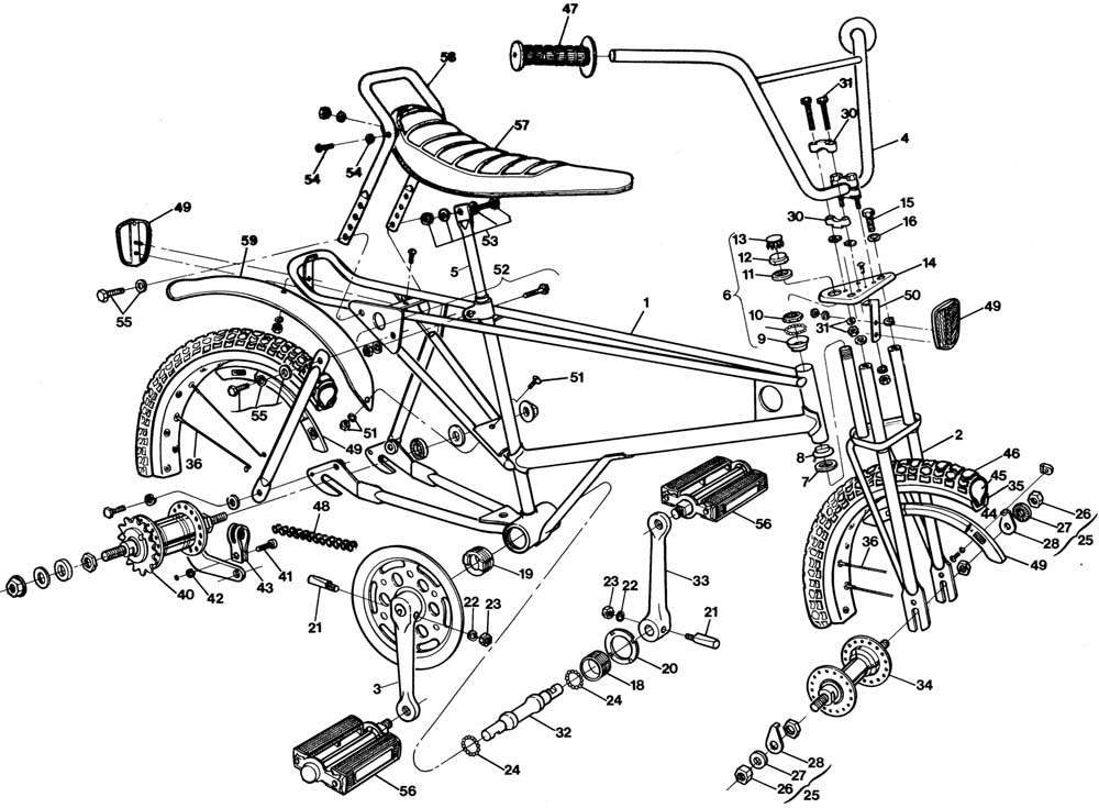 Raleigh Canadian Mx Dl55 Bicycle Exploded Drawing From